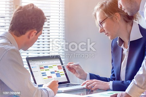 Team planning a meeting with calendar on computer, search time slot between events, tasks, and appointments, busy business people using time management tool to organize work, colleagues in office