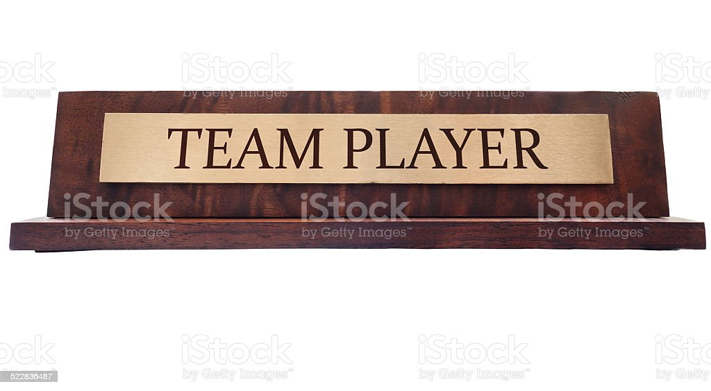 Team player name plate stock photo