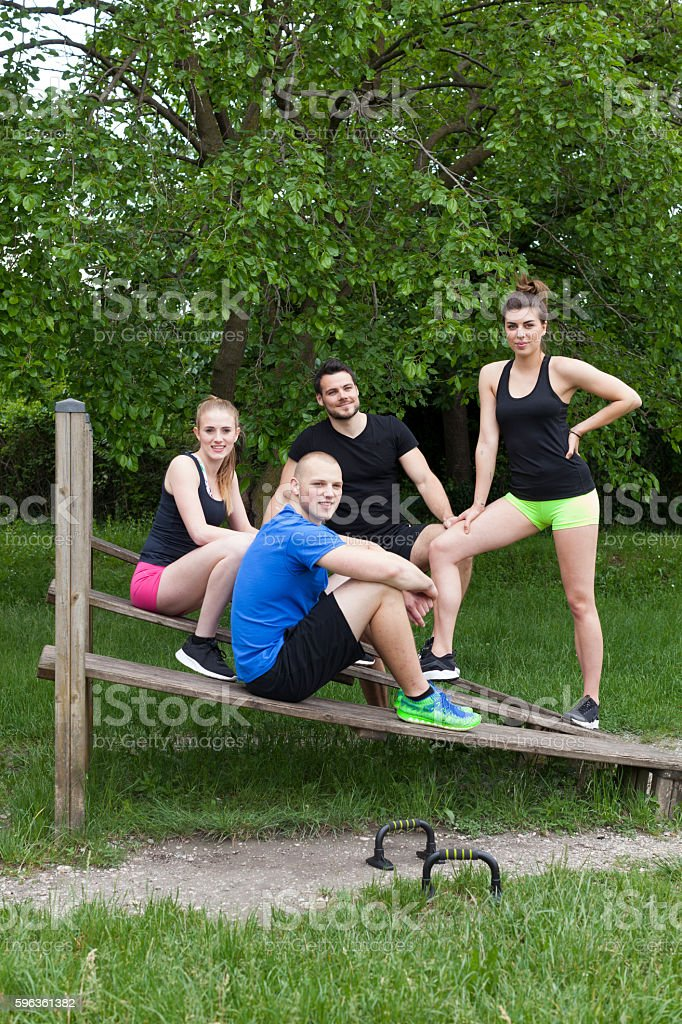 Team Portrait of a Group of Fitness Enthusiasts Vertical royalty-free stock photo