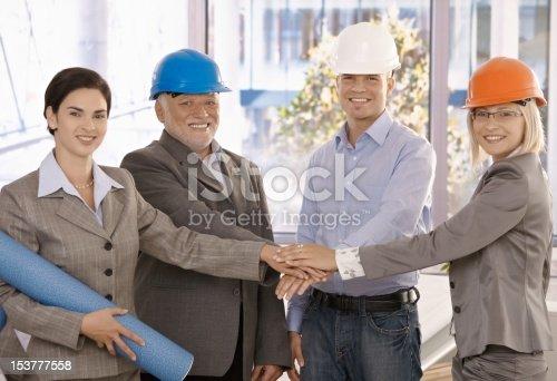 istock Team portrait of happy architects 153777558