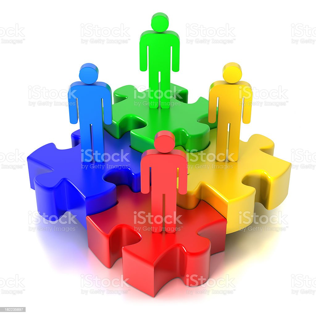 Team puzzle, 4 pieces (Clipping Path included) royalty-free stock photo