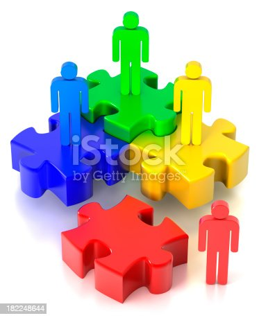istock Team puzzle, 4 pieces (Clipping Path included) 182248644