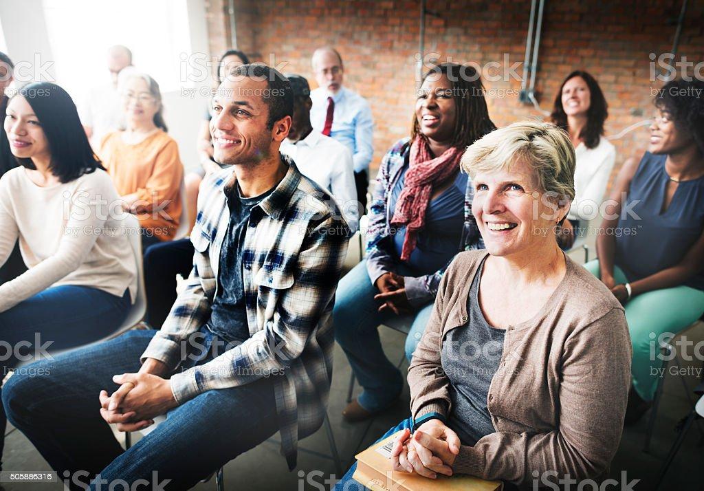 Equipe seminário, conferência corporativa conceito de audição - foto de acervo