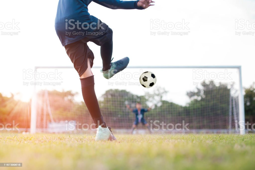 team soccer footballer get the ball to free kick or penalty kick...