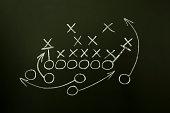 istock Team sport play strategy in white chalk on a blackboard 122040763