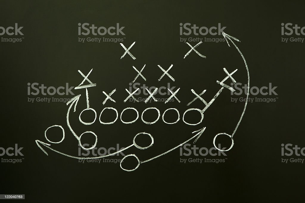 Team sport play strategy in white chalk on a blackboard stock photo