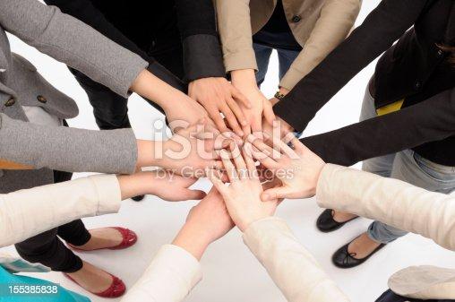 istock Team Stacking Hands 155385838