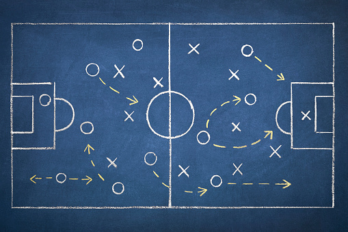 Team strategy on a chalk drawing of a soccer playing field on blue blackboard.
