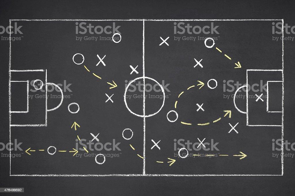 Team Strategy on Blackboard stock photo