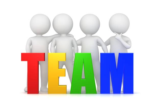 team teamwork team spirit team building team development red yellow green blue 3d text template with standing stick men side by side isolated on white - stick figure stock photos and pictures