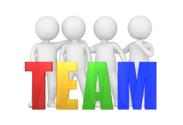 team teamwork team spirit team building team development red yellow green blue transparent 3d text template with standing stick men side by side isolated on white stock photo