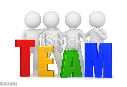 istock team teamwork team spirit team building team development red yellow green blue different letters 3d text template with standing stick men side by side isolated on white 923663748