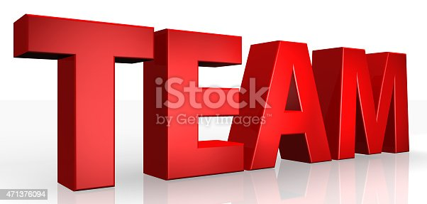 istock 3D team text on white background 471376094