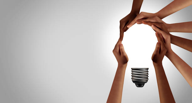 Team Thinking Together Team thinking together as a diverse group of people coming together joining hands into the shape of an inspirational light bulb as a community support metaphor with 3D elements. collaboration stock pictures, royalty-free photos & images