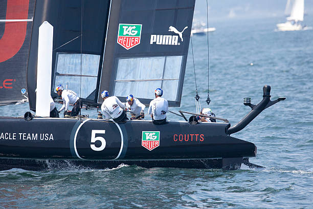 Team USA Racing Catamaran stock photo