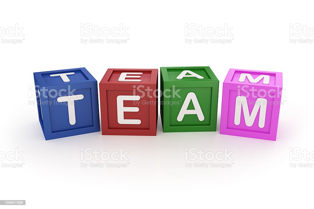 Team Word made by Colored Toy Block on White Surface royalty-free stock photo