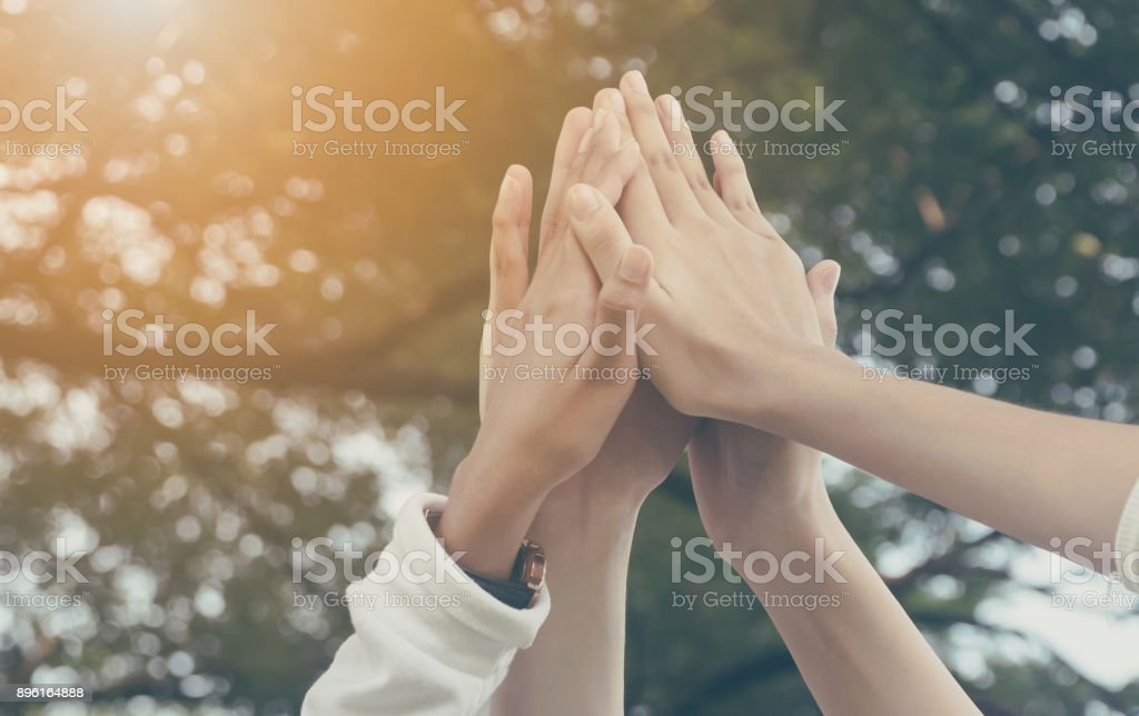 Team work and together concept, Hand of people high five for tag team royalty-free stock photo