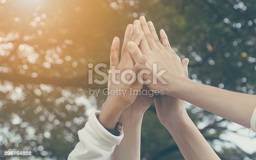 istock Team work and together concept, Hand of people high five for tag team 896164888