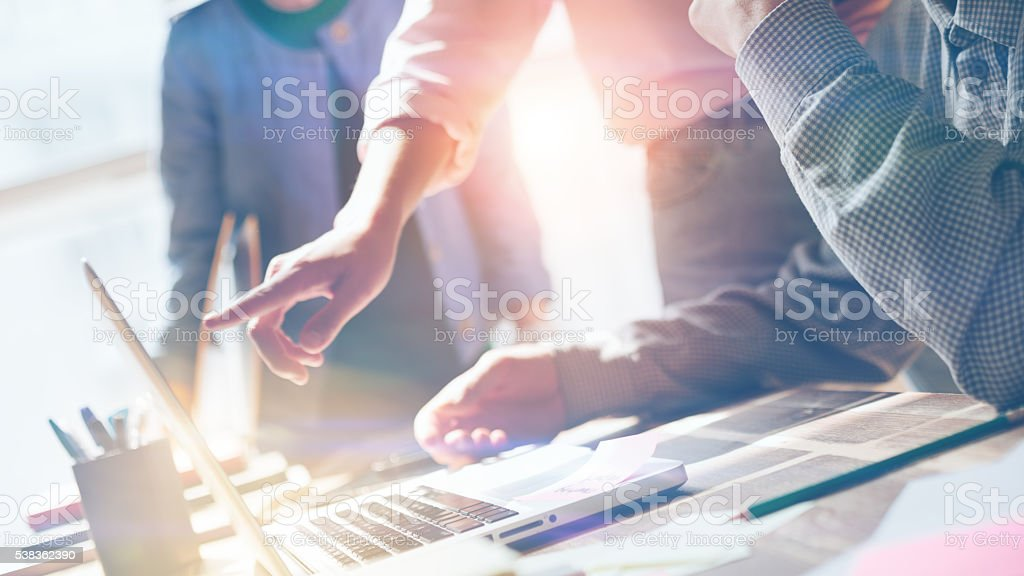 Team work. New product researching. Startup crew stock photo