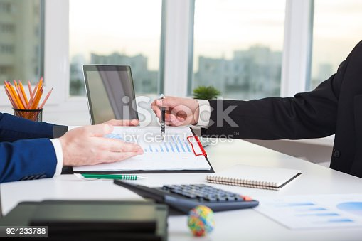 istock Team work process. Marketing strategy brainstorming. 924233788