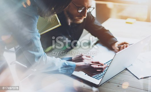 istock Team work process. Photo young business crew working with new 517497078