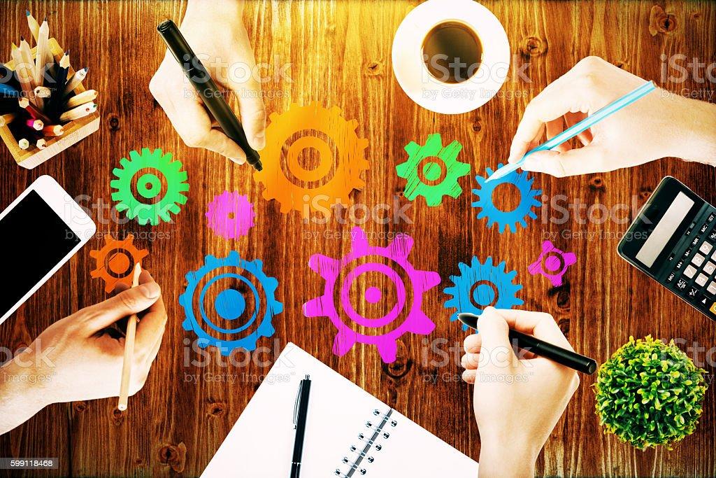Team Work Sketch On Desk Stock Photo - Download Image Now - iStock
