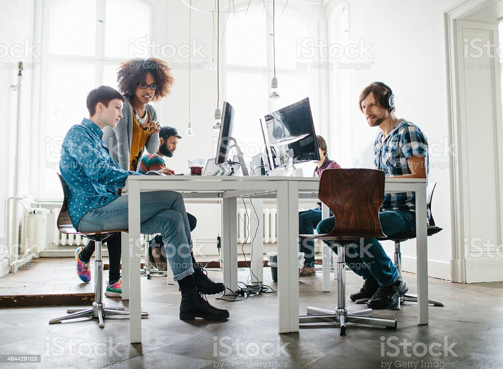 Team working at a start up stock photo