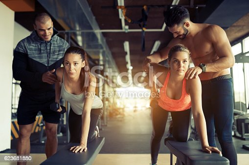 istock Team workout in gym 623681880