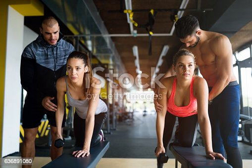 istock Team workout in gym 636891080