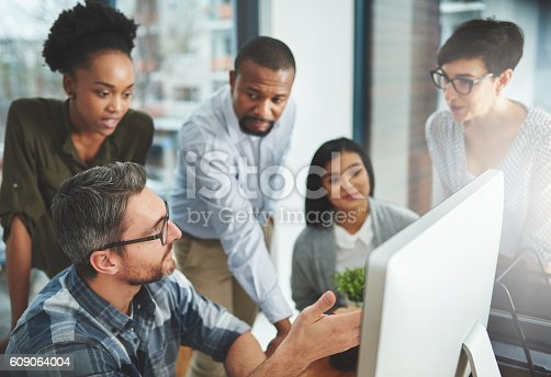 609072850 istock photo Teaming up to find solutions faster 609064004