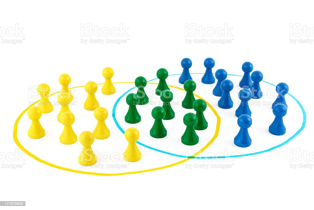 teams of board game pieces stock photo