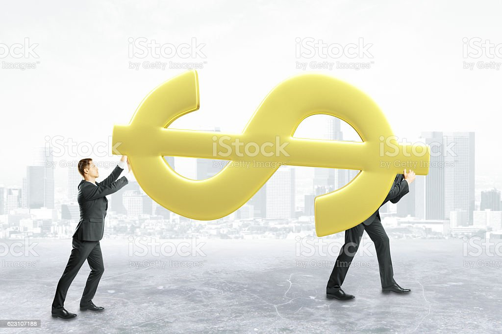 Teamwork and financial growth concept stock photo