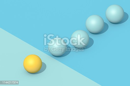 3d rendering of spheres, Teamwork and leadership business concept. Standing out from the crowd.