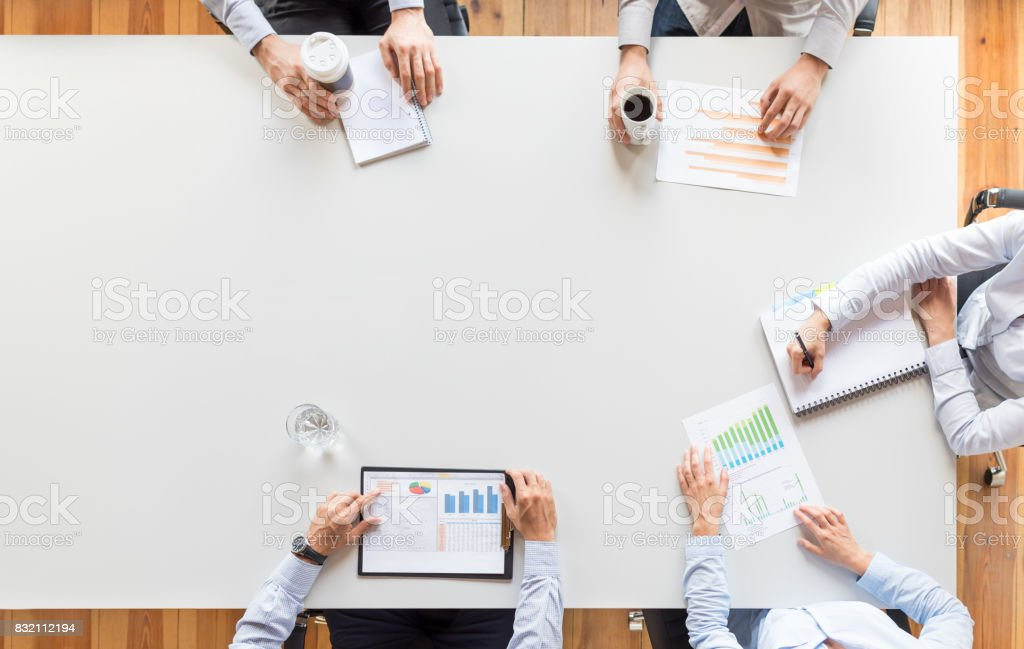 Teamwork and meeting concept. stock photo