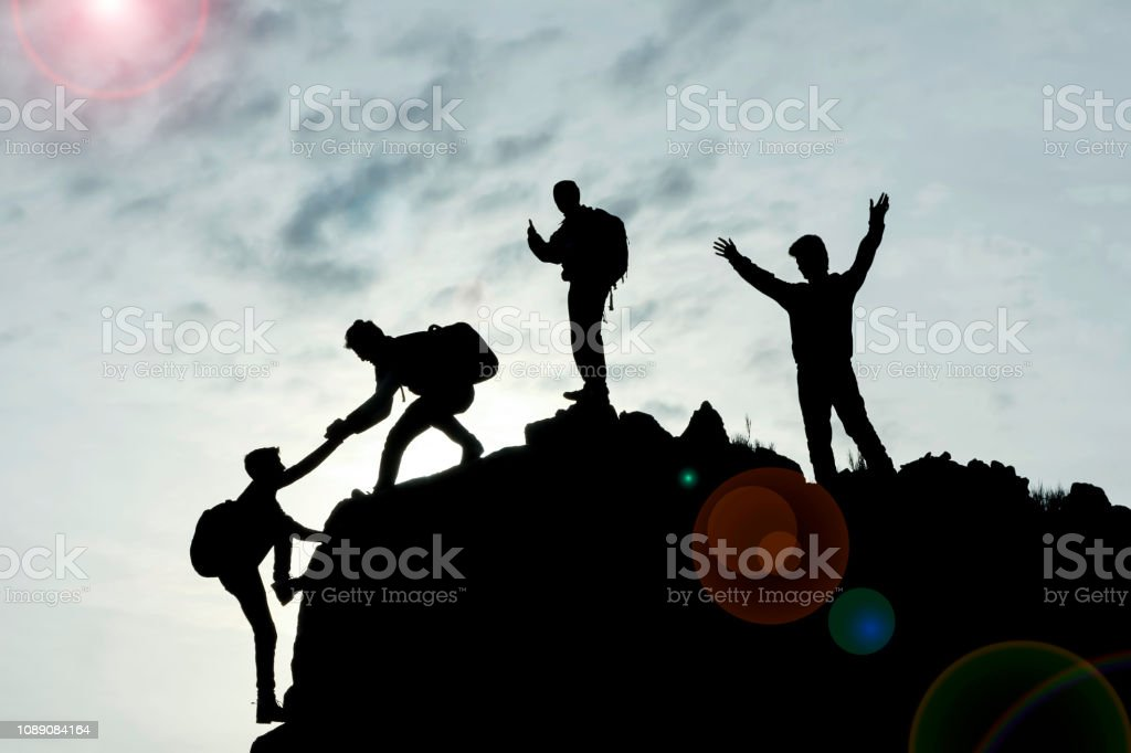 teamwork and success with unity and cooperation stock photo