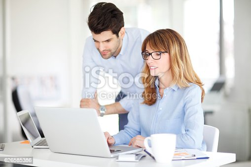 istock Teamwork at office 626585386
