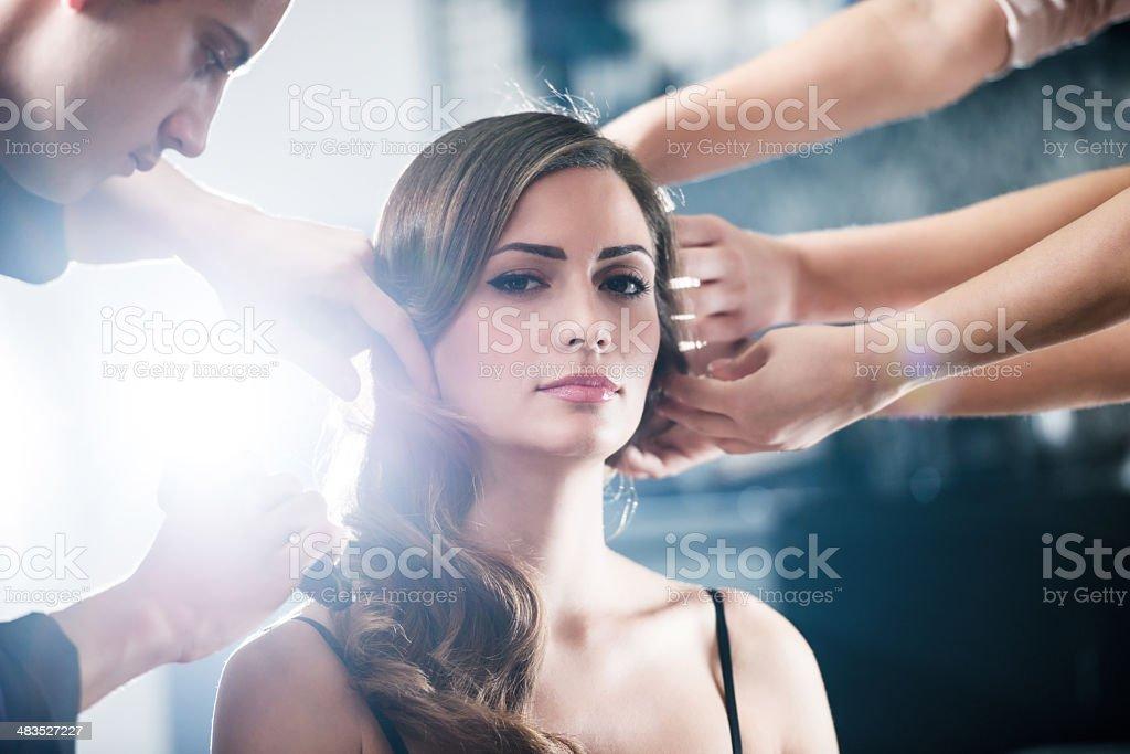 Teamwork at the hair salon. stock photo