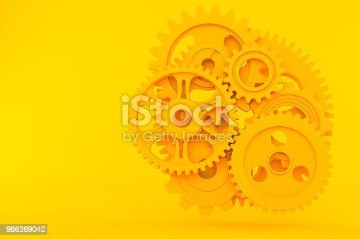 Teamwork background. 3d illustration in orange color. 3d illustration