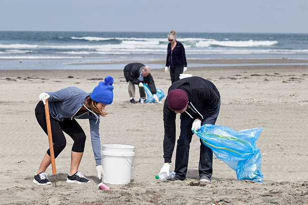 Teamwork: Beach Cleanup group of volunteers help clean up a public beach environmental cleanup stock pictures, royalty-free photos & images