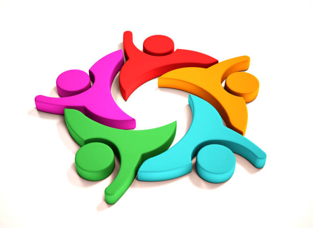 teamwork business five people group. 3d render illustration - clip art stock photos and pictures
