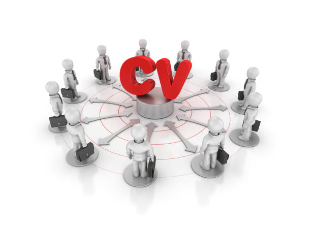 Teamwork Business People with CV Word - 3D Rendering stock photo