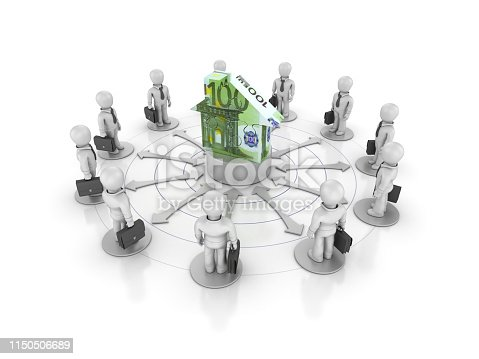 Teamwork Business People with Euro Puzzle House - White Background - 3D Rendering