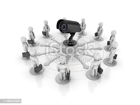 Teamwork Business People with Security Camera - White Background - 3D Rendering