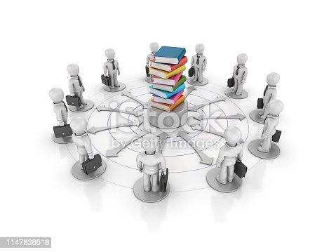 Teamwork Business People with Stack of Books - White Background - 3D Rendering