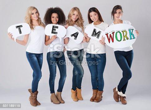 638013502istockphoto Teamwork by multi ethnic group of women 531189115