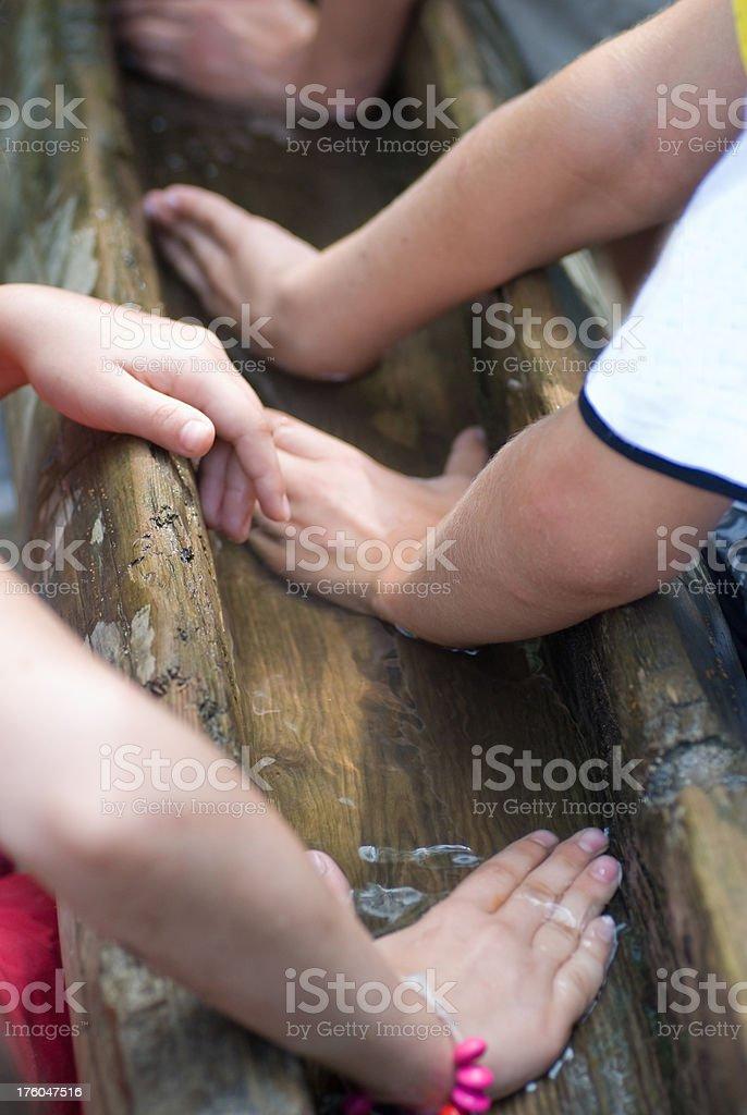 teamwork children hands building barrage dam stock photo