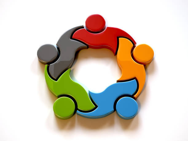 3D Teamwork Coalition of people graphic design. 3D Rendering illustration stock photo