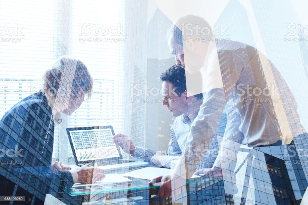 teamwork concept, business team working together stock photo