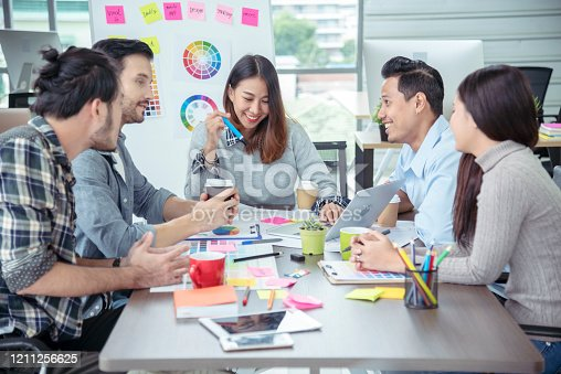 842214506 istock photo Teamwork Concept. Collaboration Team Meeting Communication with Business Teamwork Working Together in Conference Room. Top view of Diversity Partner Business Meeting Trust in Businessman and Team. 1211256625