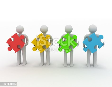 istock teamwork concept, four persons with different puzzles 1191838813